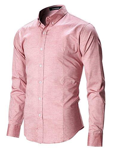 FLATSEVEN Camicia Uomo Slim Fit Casual Oxford con Bottoni Manica Lunga (SH611) Rosa, XL