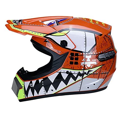 LGLE Casco de moto MX Crash Casco - Casco de seguridad para niños de motocross, todoterreno, carreras para niños, casco de moto todoterreno, guantes, A, L