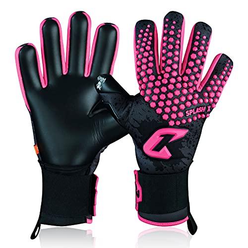Catch&Keep Guantes de portero profesionales para adultos, máximo agarre, modelo prémium, con nuestro Octopus Grip (Splash 2.0, rosa negro, 7)