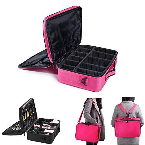 Mydio Großer Make-up-Koffer, 3-lagig, Make-up-Tasche, Organizer   professioneller Make-up-Koffer, 33 cm, Reise-Make-Up-Künstlerbox mit verstellbarem Riemen (rosarot)