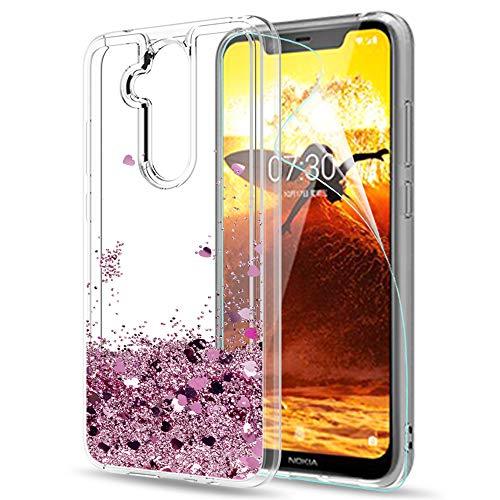 LeYi Custodia Nokia 7.1 Plus/Nokia X7 Glitter Cover con HD Pellicola,Brillantini Trasparente Silicone Gel Liquido Sabbie Mobili Bumper TPU Case per Nokia 7.1 Plus/Nokia X7 Donna ZX Turquoise