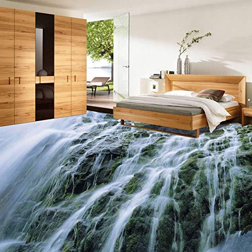 Cascada Naturaleza Paisaje 3D Pisos Papel tapiz Salón Dormitorio Impermeable Papel tapiz de vinilo ecológico Mural-150 * 105Cm