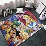 Washable Carpet Alice- in Wo-nde-rland (3) Non-Slip Soft and Comfy Living Room,Bedroom Carpet Mat ForPlayroom (60x39 in)
