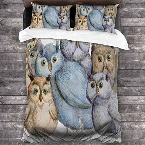 Duvet cover bedding Set,Watercolor Hand Drawn Cute Owl Family Portrait Artistic Vintage Bohemian Wildlife Birds,3 Piece Set bedding with 2 pillowcases,Super King(220 * 260cm)