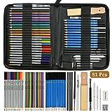 N/A - Juego de 51 lápices de colores para bocetos y dibujos, lápices de grafito
