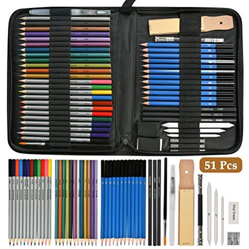 FOCCTS Juego de 51pcs Lapices Madera Colores de Dibujos Artisticos Profesional con Caja de lapices es Mejor Regalo para Artistas,Estudiantes, Niños Arte para Bocetos