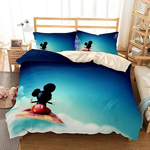RITIOA Ropa de cama con diseño de Minnie Mouse y Mickey Mouse, suave y esponjosa, funda nórdica de 135 x 200 cm y 2 fundas de almohada de 50 x 75 cm