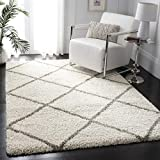 Safavieh Hudson Shag Collection SGH281A Ivory and Grey Moroccan Diamond Trellis Area Rug (9' x 12')