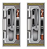 Beistle 2 Piece Printed Plastic Indoor Outdoor Spaceship Door Covers Decorations for Outer Space Galaxy Alien Theme Birthday Parties, Multicolored