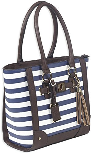 Bulldog Cases Tote Style Concealed Carry Purse with Holster, Navy Stripe, 17L