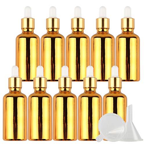20 Piezas Frasco Gotero De Vidrio Galvanoplastia Vacías De 50 ml, Botellas Pequeñas de Muestra de Oro Recargables Botellas de Subcontenedor Para Aceites Esenciales Aromaterapia Laboratorios +Embudo