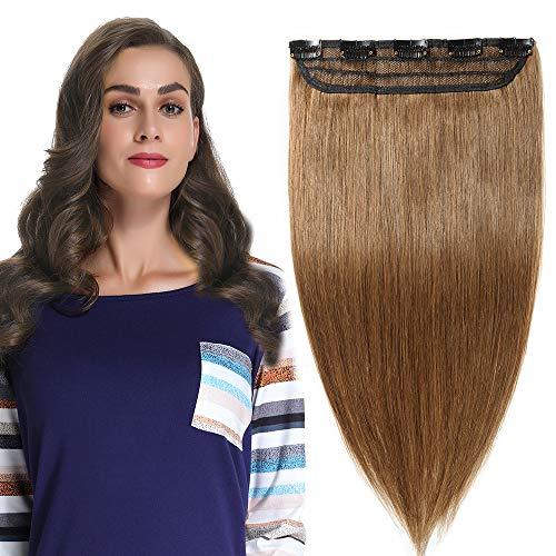 Clip in extensions echthaar Haarverlängerung 100% Remy Echthaar - 1 Stück 5 Clips(40cm-45g #6 hellbraun)