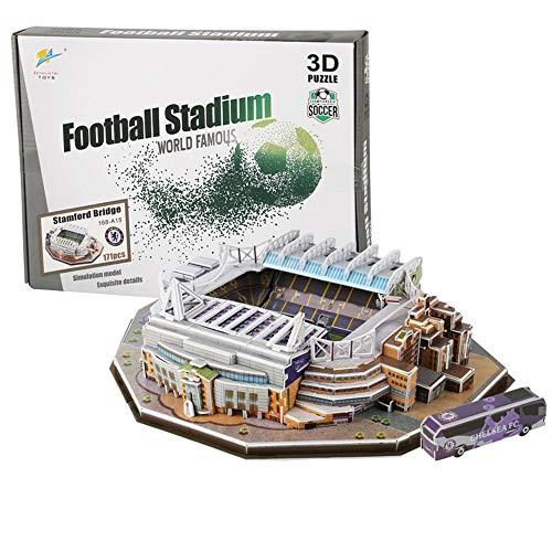 N\A 3D Jigsaw Puzzle, Chelsea Stamford Bridge Stadium,World Famous Football Stadium, DIY Model, Children's Educational Toy, For Chelsea Fans 171Pcs
