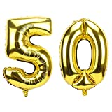 Ouinne Globo 50 Años, 40 Pulgadas Globo del Cumpleaños Número 50 Helio Globos para La Decoración Boda Aniversario (Oro)