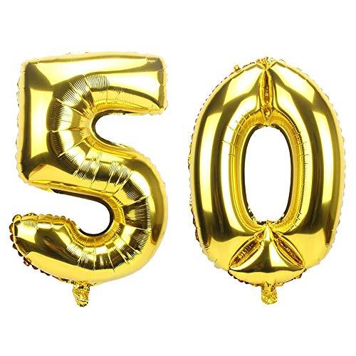 Ouinne Palloncino 50 Anni Numero Compleanno Festa Gas Elio Stagnola Palloncini per Decorazione Partito 40 Pollici (Oro)