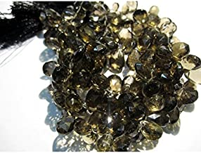 JP_Beads 1 Strand Natural Smoky Quartz Briolette Beads, Faceted Gemstones, Pear Beads - 10x15mm to 9x12mm 4 inches