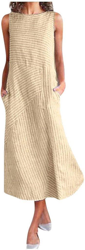 Women's Vintage Cotton Bombing new work Linen Striped Sleeve Crew Neck Midi Dress Cheap sale