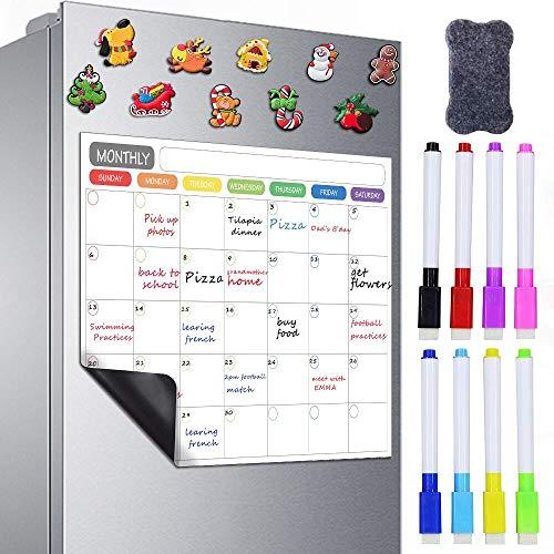 Plartree Pizarra Blanca Magnética para Nevera, Calendario Mensual Pizarra Magnética de Borrado en Seco con 8 Marcadores de Color + 10 Imanes de Nevera + 1 Borrador