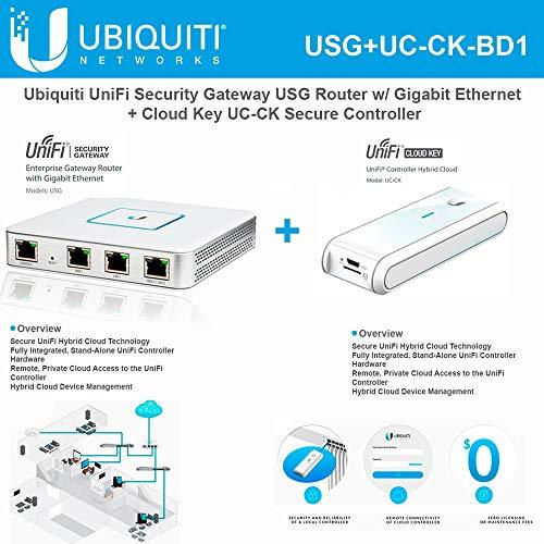Ubiquiti USG Unifi Security Gateway (1 Item) Bundle with Ubiquiti UC-CK Unifi Cloud Key - Remote Control Device (1 Item)