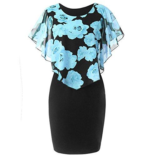 MRULIC Damen Abendkleid Slim-fit Wickelkleid Elegantes Kleider Chiffon Rose Drucken Rundhals...
