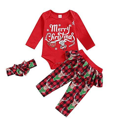Conjunto de ropa casual para niñas recién nacidas de manga larga+pantalones a cuadros+tocado con nudo de lazo, 3 piezas para bebés y niñas, rosso, 3 mes
