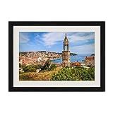 芸術品印刷黒い木枠ポスター家の装飾の絵画(クロアチア、フワル、都市、塔、ヨット、海、海岸)40x60cm