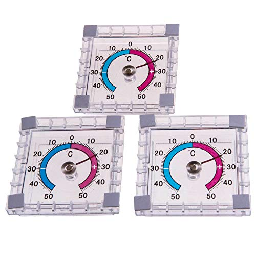 SIDCO Fensterthermometer 3 x Thermometer Außenthermometer selbstklebend Thermometer