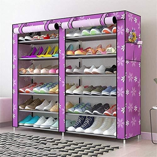 Decoración de muebles Caja de zapatería plegable Caja de zapatos Oxford Paño Zapato Zapato Zapato Rack Bold Acero Marco Multi-capa totalmente cerrado Refuerzo de polvo Rack de zapatos para zapatos Bot