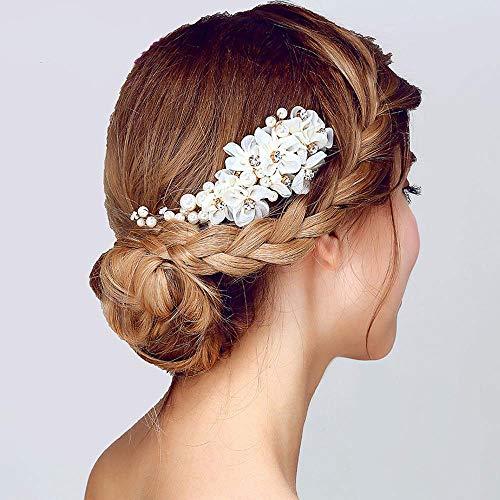 Coiffe de perles purement à la main, accessoires de cheveux blancs et rouges peigne à cheveux de mariée, matériau en alliage, adapté pour le mariageWhite