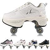 Women's Retractable Roller Skates Outdoor Girls Kick Roller Shoes Men Deformation Sneakers, White Silver (Silver)-EU41/US9