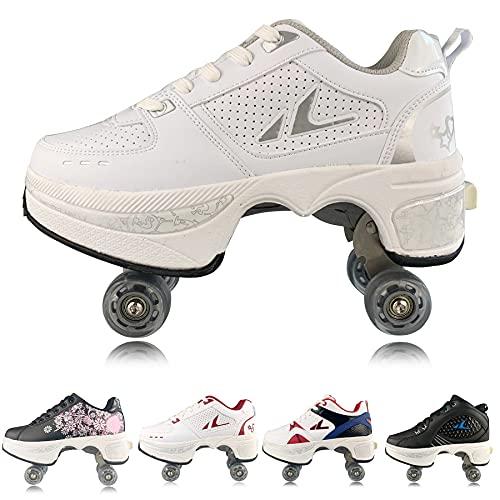 Plmokn Rollschuhe für Damen mit 4 Rädern, verstellbar, 2-in-1-Mehrzweck-Schuhe, für Jungen und Mädchen, universale Laufschuhe, a, 46
