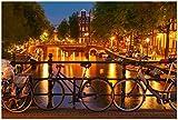 Wallario Poster - Amsterdam bei Nacht - Brücken und