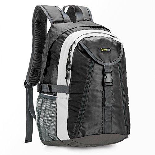 20L Zaino, Evecase 20L Backpack Acqua Resistente Impermeabile per Trekking, Ciclismo, Scuola, Attività all'Aperto, Viaggi - Nero