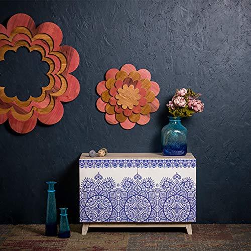 Native Home Commode, Buffet Oriental Bois, Bahut Sideboard Bois de manguier, Mandala HxlxP: 76 x 81 x 45 cm, coloré