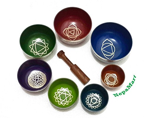 Chakra Healing Tibetan Singing Bowls (Set of 7) for A,B,C,D,E,F,G Chakras By NepaMart