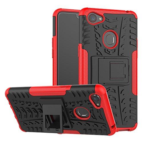 TiHen Handyhülle für Oppo F7 Hülle, 360 Grad Ganzkörper Schutzhülle + Panzerglas Schutzfolie 2 Stück Stoßfest zhülle Handys Tasche Bumper Hülle Cover Skin mit Ständer -rot