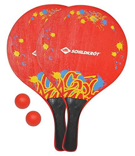 Beachball Set XL, 2 Raquetas de Madera, 2 Bolas, en un Bolsillo de Red