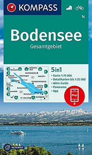 KV WK 1c Bodensee Gesamt 75T: 5in1 Wanderkarte 1:75000 mit Panorama, Aktiv Guide, Detailkarten und Panorama inklusive Karte zur offline Verwendung in ... Fahrradfahren. (KOMPASS-Wanderkarten)