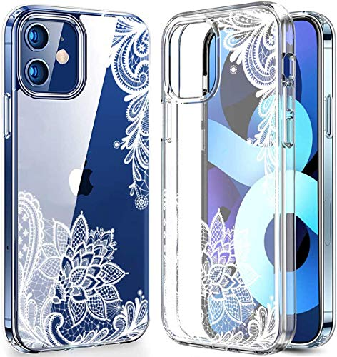 BSLVWG - Carcasa para iPhone 12 Mini, diseño de flores, transparente, plástico duro, carcasa rígida con suave TPU antigolpes para Apple iPhone 12 Mini de 5,4 pulgadas (punta)