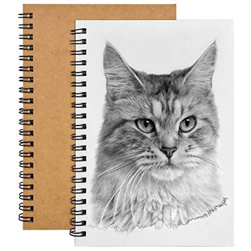 2pcs Cuaderno de Bocetos A5,200 GSM / 100 Páginas Libreta de Espiral,Papel Boceto en Blanco para Que Pintan Acuarela, Journalr, Dibujo de Paisaje (Cubierta Kraft)