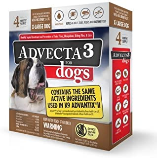 Advecta 3 For Dogs - X-Large - Flea & Tick Topical Treatment - 4 Count (4 Months' Supply)