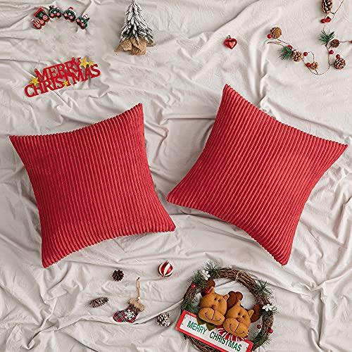 Woaboy - Juego de 2 fundas de almohada decorativas de pana a rayas modernas y suaves fundas de cojín cuadradas para cama, sofá, sala de estar, 50.8 x 50.8 cm, color rojo