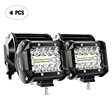Nilight 18021F-D 4PCS 4Inch 60W Triple Row Flood Spot Combo 6000LM Bar Driving Boat Led Off Road Lights for Trucks,2 Years Warranty