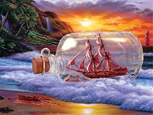 DIY 5D Pintura Diamantes Kits Barco Botella Sunset Diamond Painting Full Redondo Taladro Cristal Rhinestone Imagen Adultos Bordado Punto Cruz lienzo Manualidades Hogar Pared Decoración Regalo 30x40cm