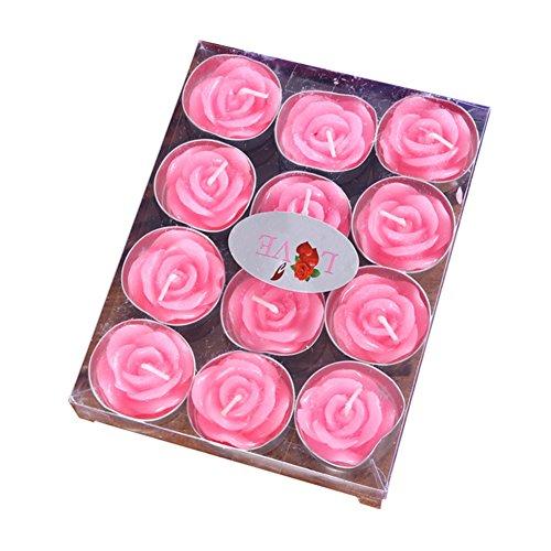leisial 4pcs Schwimmkerze ohne Rauch-Simulation Blumen Rosen-romantischen Valentinstag Hochzeit für Dekoration, Rosa