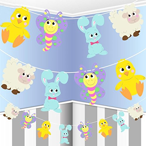 CONCEPT4U 8ft Easter Character Paper Garland Chick Sheep Bunny Rabbit Butterfly Sheep Lamb Decoration Banner Egg Hunt Spring Party Bunting 2.5m