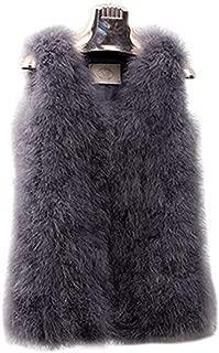 Women's 100% Ostrich Fur Vests Sleeveless Fur Coat