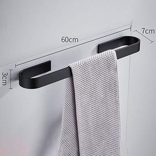 Ponche, toallero gratis, barra de toalla de barra simple de aluminio espacial, estante de almacenamiento para baño, perchero, barra de toalla lateral ancha de arena negra 60CM