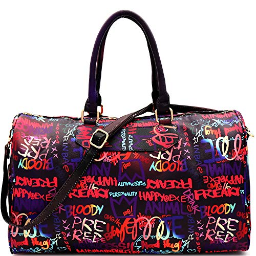 Retro Vintage Neon Multicolor Colorful Graffiti Clutch Tote Purse Crossbody Sling Bag Handbag (Weekender Duffel Bag - Dark Multi)