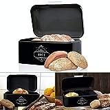 Omi's Beste© Panera de metal I Caja de pan de alta calidad 30,5 x 18,5 x 14,8 cm I Almacenamiento para pan panecillos cruasanesICaja metálica en diferentes colores - estilo vintage